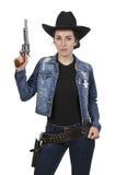 Cowgirl con relvolver Fotografia Stock