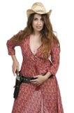 Cowgirl con relvolver Fotografie Stock