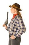 Cowgirl con un arma 2 Foto de archivo libre de regalías