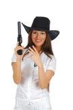 Cowgirl con una pistola Fotografia Stock Libera da Diritti