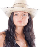 Cowgirl country with hat. Cowgirl country portrait on white Royalty Free Stock Images