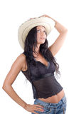 Cowgirl country with hat. Cowgirl country portrait on white Stock Photography