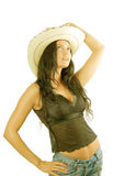Cowgirl country with hat. Cowgirl country portrait on white Stock Images