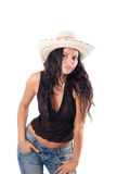 Cowgirl country with hat. Cowgirl country portrait on white Royalty Free Stock Photography