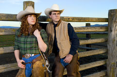 Cowgirl and cowboy couple Royalty Free Stock Photography