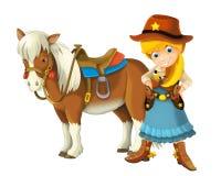Cowgirl - cowboy - löst västra - illustration för barnen Arkivfoto