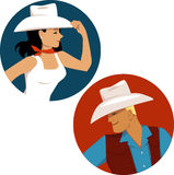 Cowgirl and cowboy round portrait badges Royalty Free Stock Photo