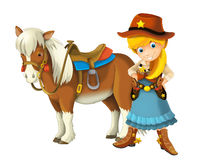 Cowgirl - cowboy - wild west - illustration for the children Stock Photo