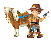 Cowgirl - cowboy - wild west - illustration for the children Stock Images