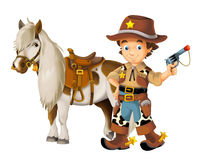 Cowgirl - cowboy - wild west - illustration for the children Stock Photography