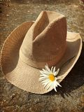 Cowgirl daisy hat. Wearing flowers, free and romantic, warm sunny weather Stock Photo