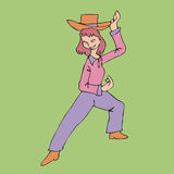 Cowgirl dancing Royalty Free Stock Images