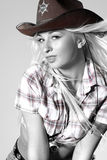 Cowgirl del rodeo in cappello di cowboy fotografia stock