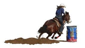 Cowgirl del rodeo che corre intorno ad un barrrel royalty illustrazione gratis