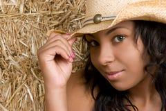 Cowgirl dell'afroamericano Fotografia Stock