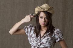 Cowgirl depressivo Fotos de Stock Royalty Free