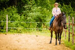 Cowgirl doing horse riding on countryside meadow. Taking care of animals, horsemanship, western competitions concept. Cowgirl doing horse riding on countryside royalty free stock photos