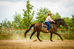 Cowgirl doing horse riding on countryside meadow. Taking care of animals, horsemanship, western competitions concept. Cowgirl doing horse riding on countryside royalty free stock photography