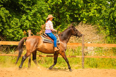 Cowgirl doing horse riding on countryside meadow. Taking care of animals, horsemanship, western competitions concept. Cowgirl doing horse riding on countryside stock photography