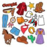 Cowgirl Doodle dla Scrapbook, majcherów, łat, odznak z koniem i ostroga, ilustracja wektor