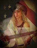 Cowgirl Double Exposure American Flag Stock Photography