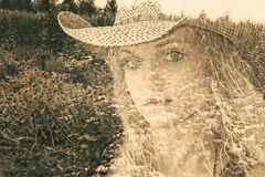 Cowgirl Double Exposure Royalty Free Stock Photo