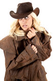 Cowgirl duster look back Stock Images