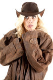 Cowgirl duster looking Stock Photo
