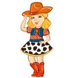 Cowgirl dziecko odizolowywający na bielu. Obrazy Stock