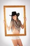Cowgirl e blocco per grafici fotografia stock libera da diritti