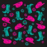 Cowgirl element Pattern in Pink and turquoise royalty free illustration