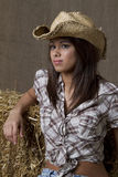 Cowgirl en granero Imagen de archivo libre de regalías