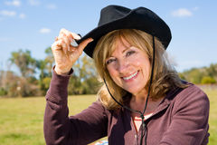 Cowgirl on the Farm Stock Photography