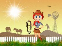 Cowgirl in the farm Stock Images