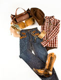 Cowgirl fashion composition. On white background Royalty Free Stock Photography