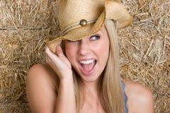 Cowgirl feliz Imagenes de archivo