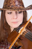 Cowgirl with fiddle Royalty Free Stock Image