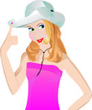 Cowgirl fingering her hat. Vector illustration with a beautiful girl wearing cowboy's hat. The girl touches hat brim with a finger Royalty Free Stock Image