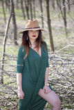 Cowgirl in forest. Cowgirl in park , relax Royalty Free Stock Photos