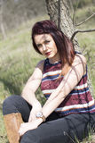 Cowgirl in forest shooting. Cowgirl in wood , relax and shooting Royalty Free Stock Photography