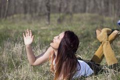 Cowgirl in forest shooting. Cowgirl in wood , relax and shooting Stock Photography
