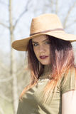 Cowgirl in forest. Cowgirl in wood , relax Stock Photography
