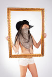 Cowgirl and frame royalty free stock image