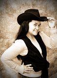 Cowgirl-Gammal fotoLook Arkivbilder