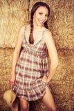 Cowgirl grazioso del paese Immagini Stock Libere da Diritti