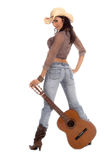 Cowgirl Guitar Stock Images