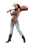 Cowgirl Guitar Stock Photography