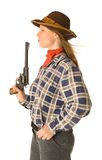 Cowgirl with a gun 2. An isolated photo of a cowgirl with a gun Royalty Free Stock Photo