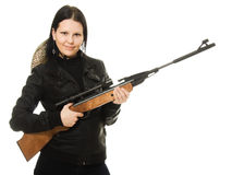 Cowgirl with a gun Royalty Free Stock Photo