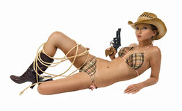 Cowgirl with gun in a bikini Stock Photography